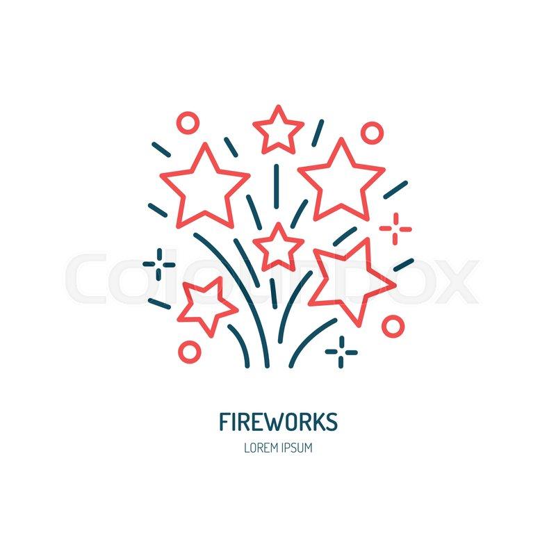 fireworks line icon vector logo for event service linear rh colourbox com Fireworks Transparent Background American Fireworks