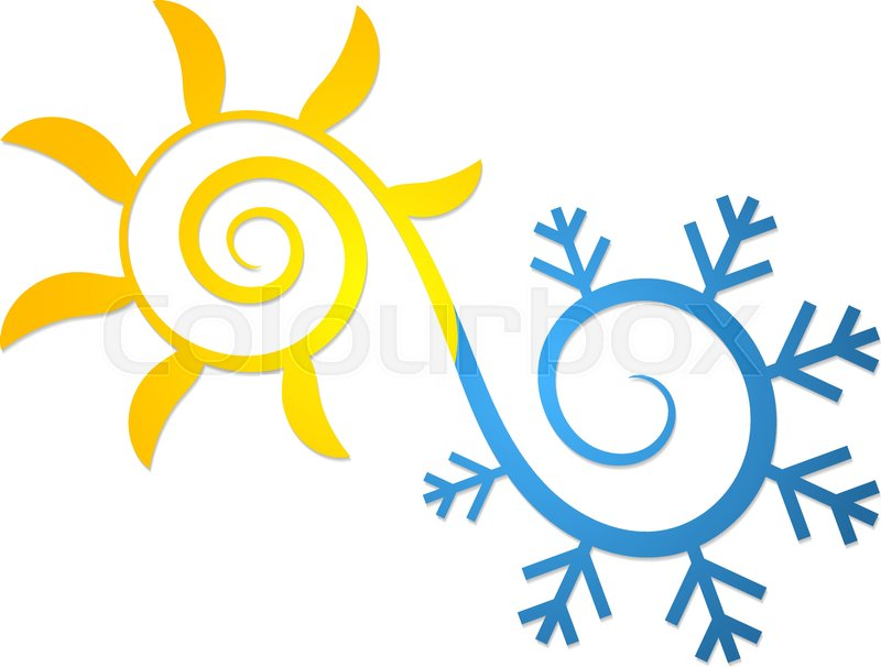 Sun And Snowflake Abstract Symbol For Air Conditioning And