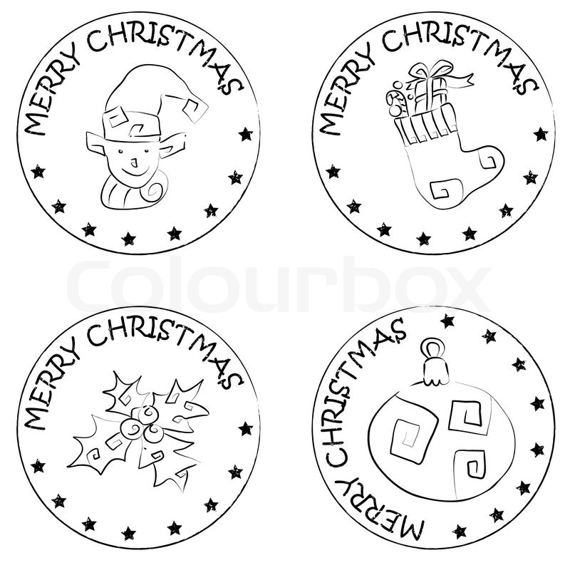 4 Christmas Coin Stamps Isolated On White With Stars And
