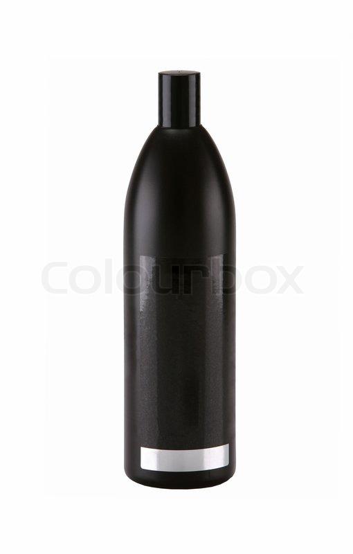 Black Shower Shampoo Bottle Isolated On White Stock