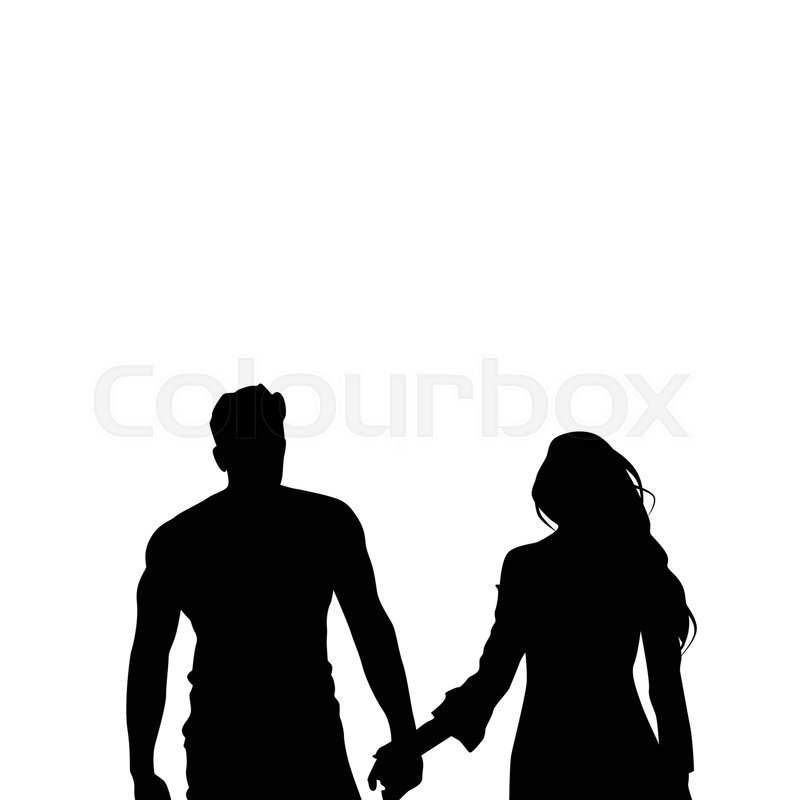 black silhouette romantic couple holding hands full length isolated