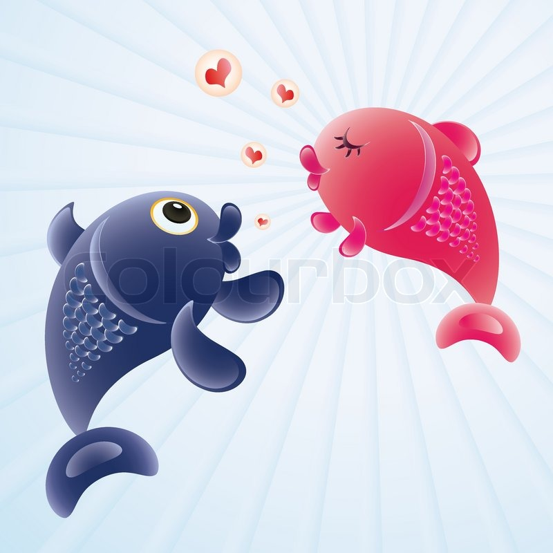 Fish in love romantic feelings concept illustration for I love the fishes