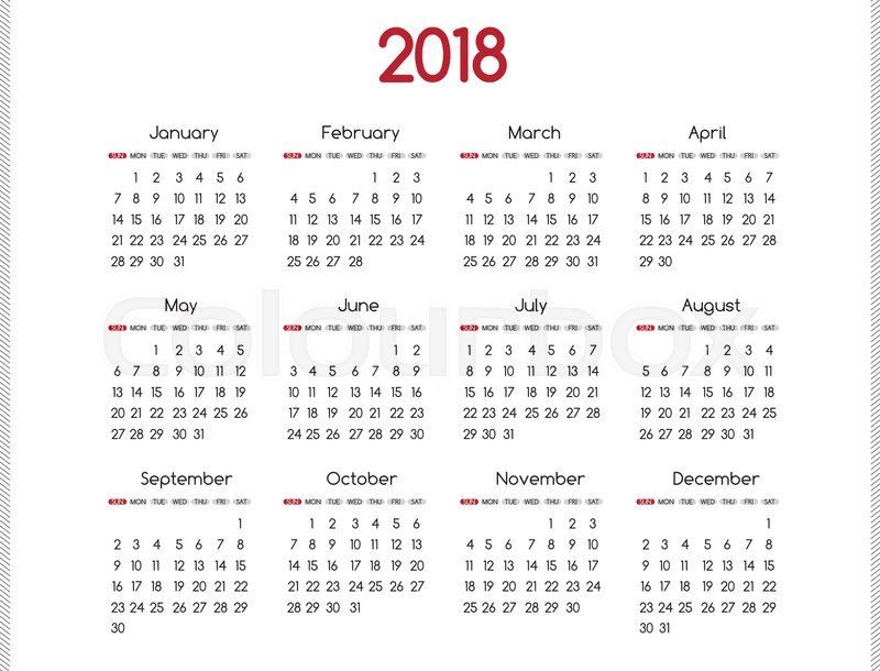 2018 Year Vector Calendar Modern Simple Design With Round San Serif