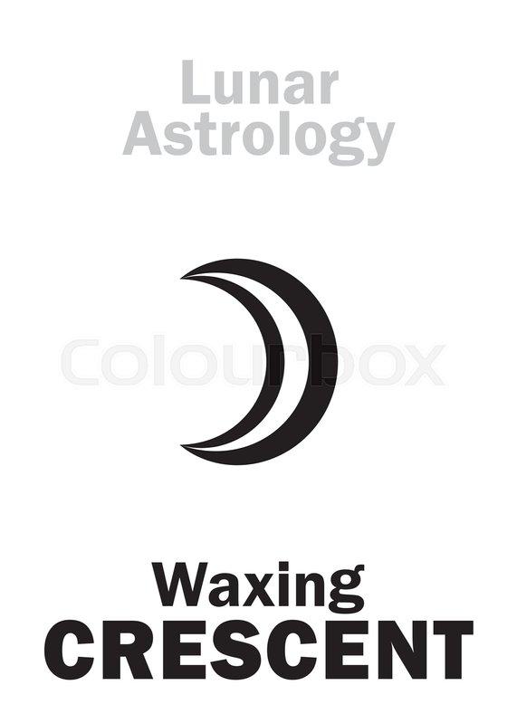 Astrology Alphabet Waxing Crescent Moon Increase Hieroglyphics