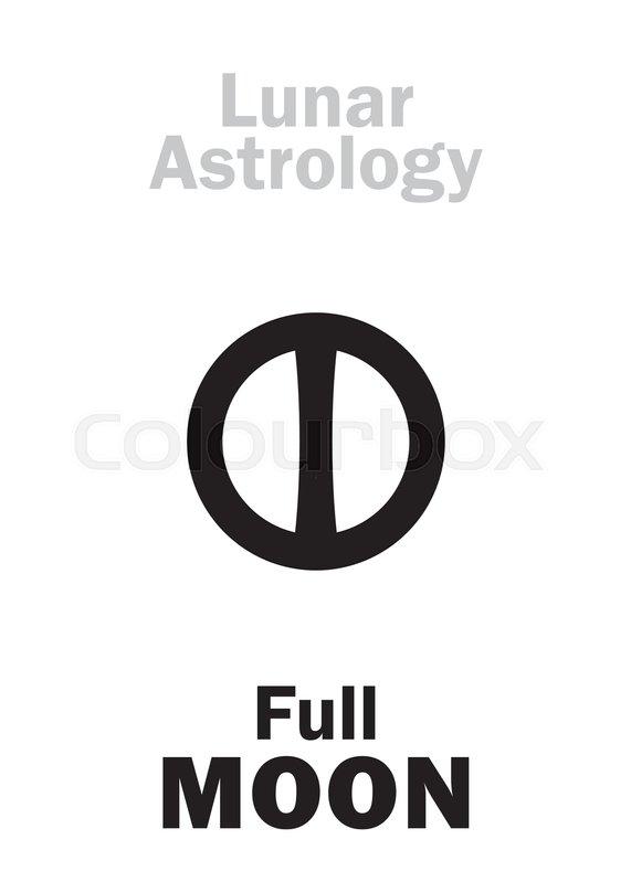 Astrology Alphabet Full Moon Lunar Phase Hieroglyphics Character