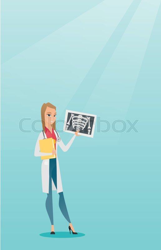Caucasian doctor in a medical gown examining a radiograph. Young smiling doctor looking at a chest radiograph. Doctor observing a skeleton radiograph. Vector flat design illustration. Vertical layout, vector