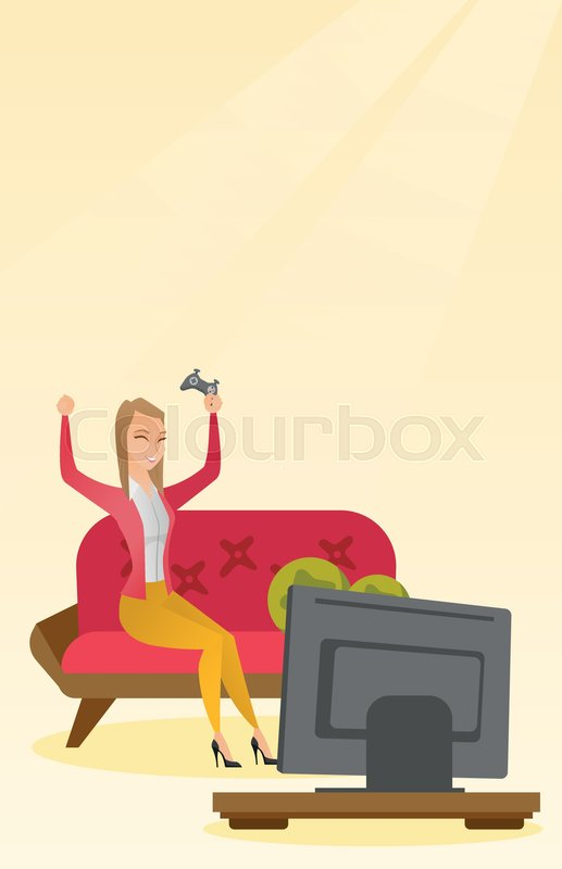 Caucasian Woman Playing A Video Game Woman Playing A Video Game At