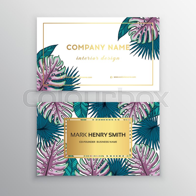 business cards gold and colorful design tropical leaf vector illustration corporate identity templates in tropical style stock vector colourbox