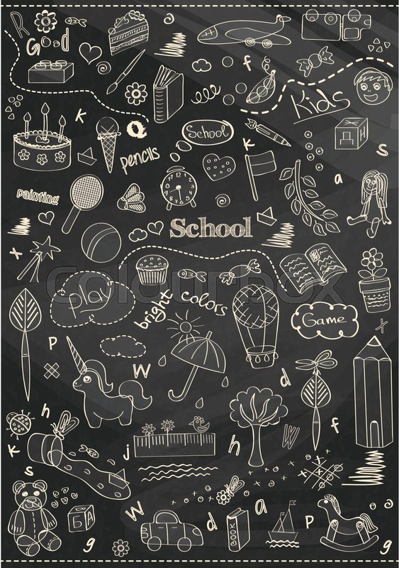 Beautiful chalk drawing children school pattern for kids ...