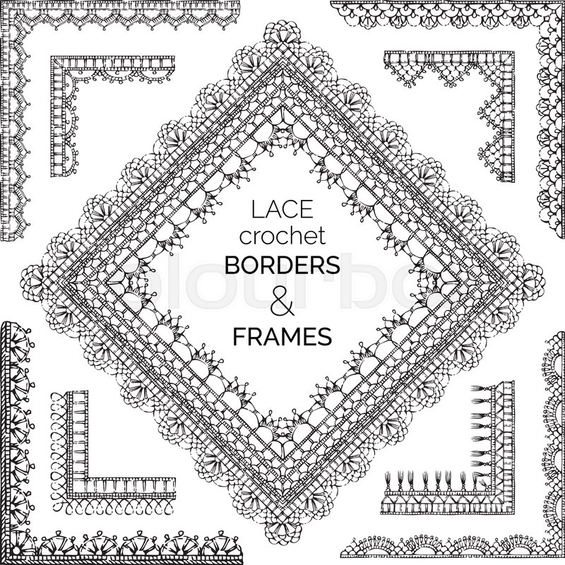Sketch Crochet Corners Knitting Edging And Border Patterns Stock