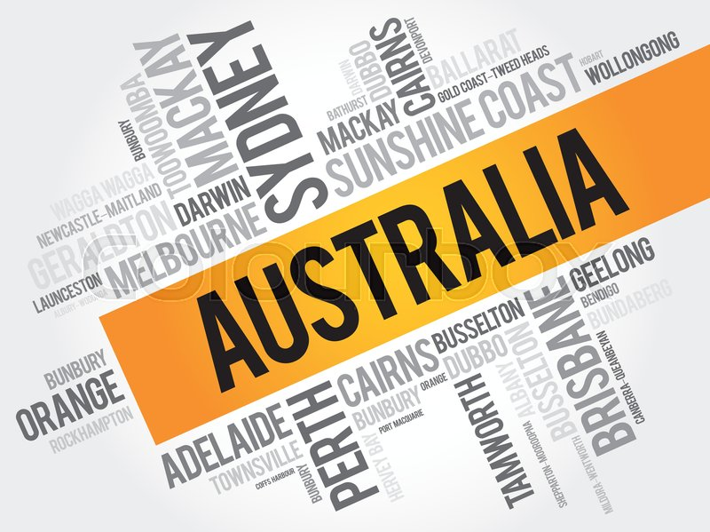 List of cities and towns in Australia,     | Stock vector