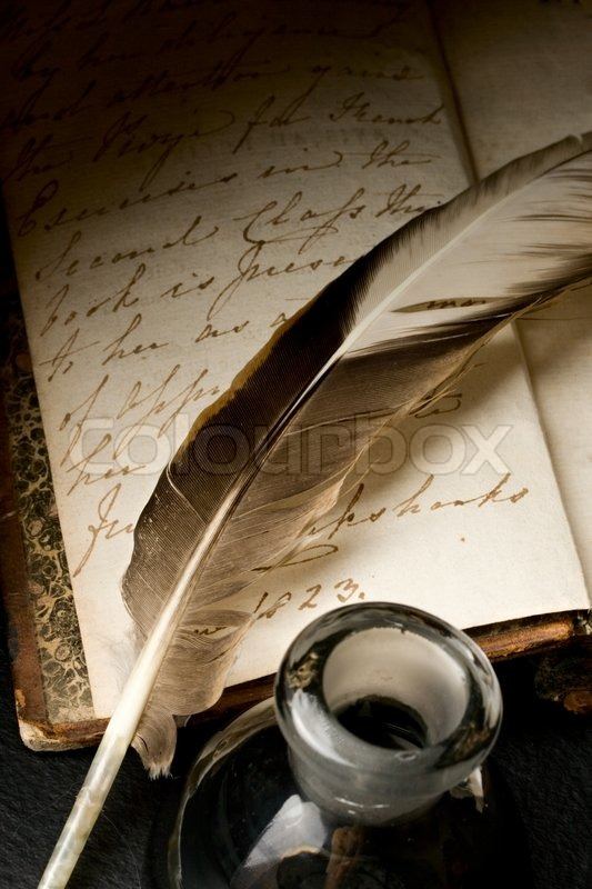 Stock image of 'Old book with feather and inkpot'