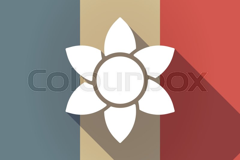 Illustration Of A Long Shadow France Flag With A Lotus Flower