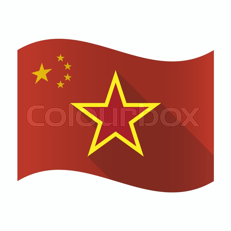 Illustration Of A Waving China Flag With The Red Star Of Communism
