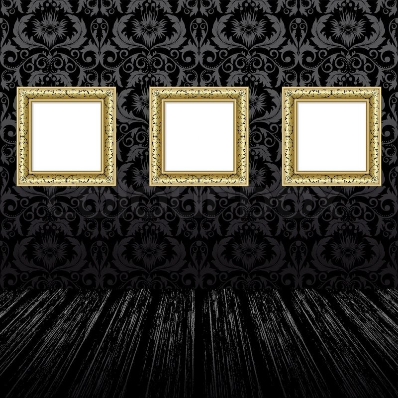 Gold three frames on thewall with black wallpaper | Stock Vector ...