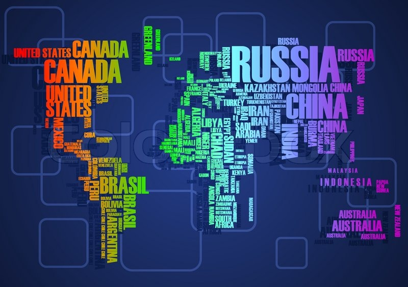 world mapthe contours of the country consists of the words stock vector colourbox