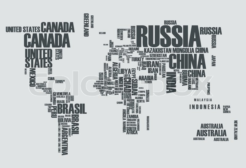 world map the contours of the country consists of the words stock