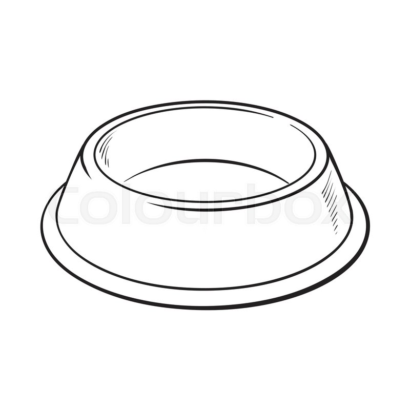Empty Green Shiny Plastic Bowl For Pet Cat Dog Food Black And White Sketch Style Vector ...