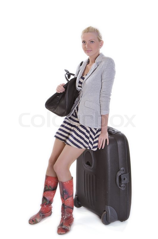 Young adult woman with luggage, ready for travel | Stock Photo ...