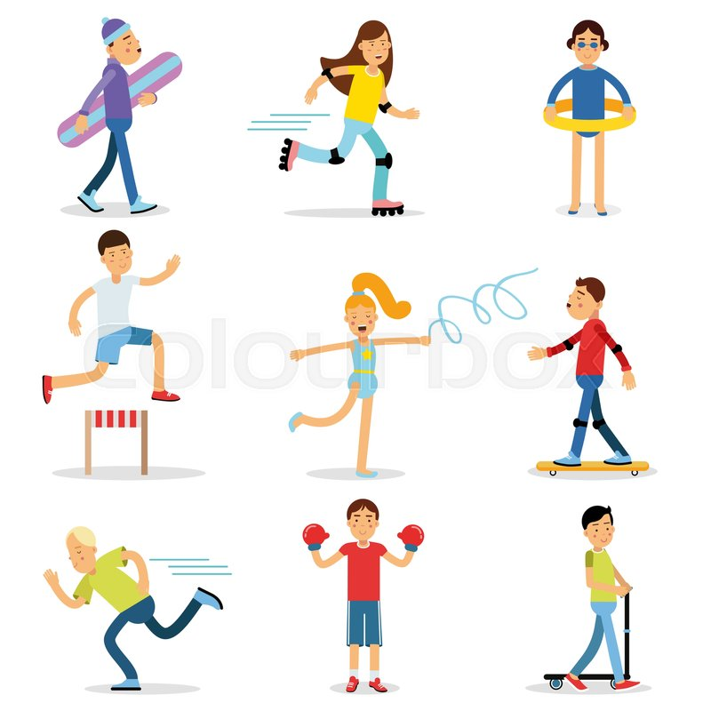 teenagers children playing sports set children physical Free Soccer Graphics Soccer Sports Clip Art