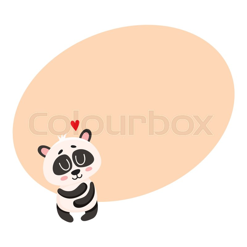 Cute And Funny Smiling Baby Panda Character Hugging Itself Showing