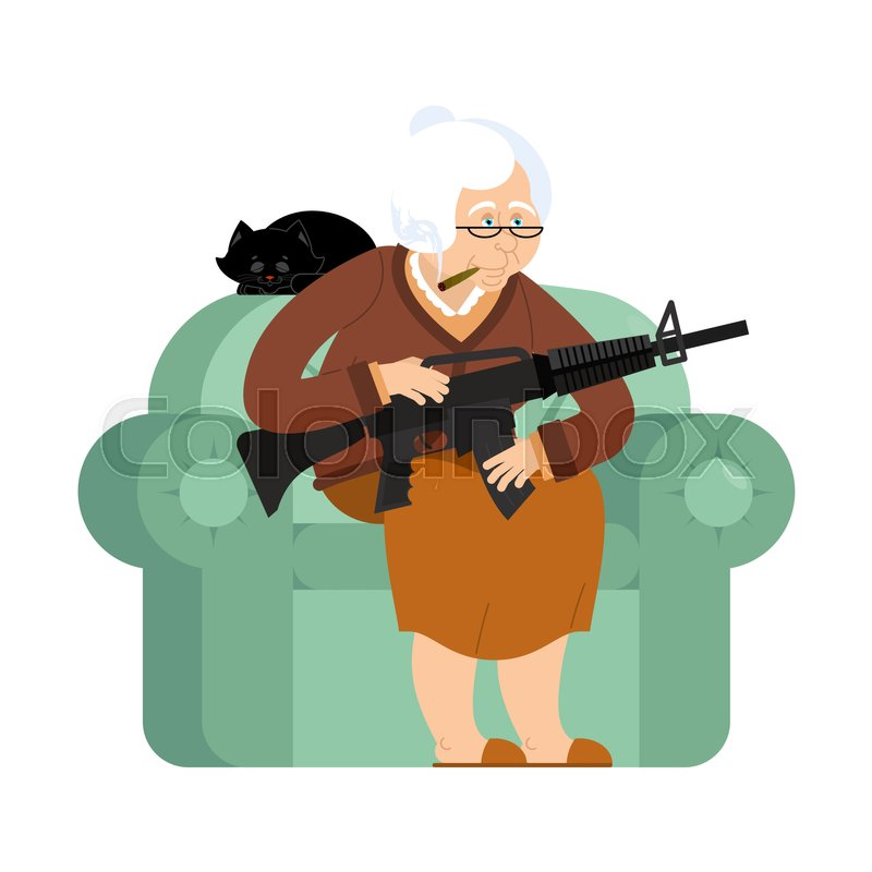 Grandmother With Gun. Old Woman In An Armchair With Tommy