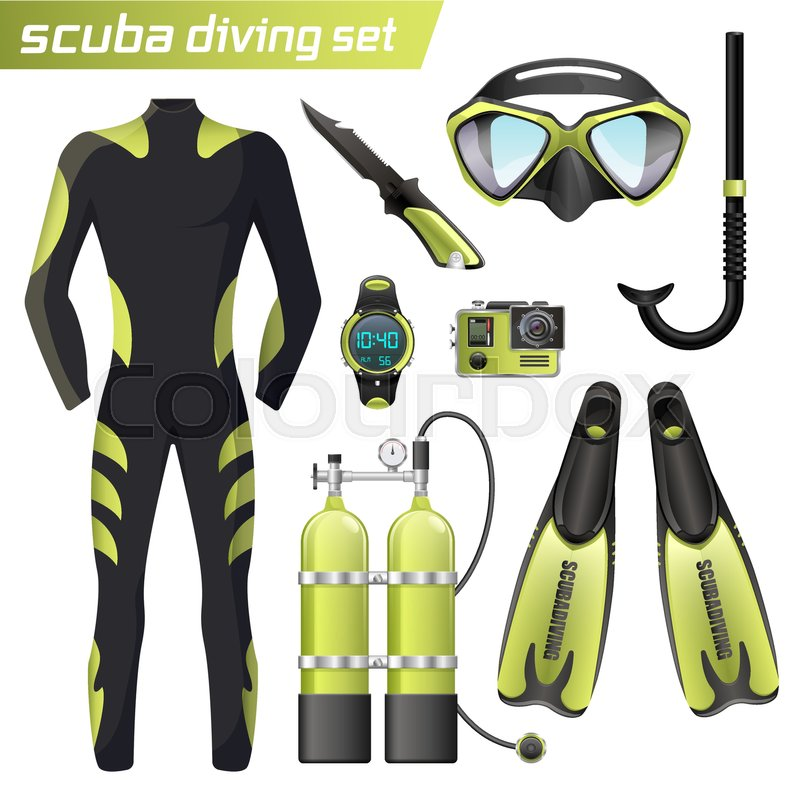 Realistic snorkeling and scuba diving stock vector for Scuba dive equipment
