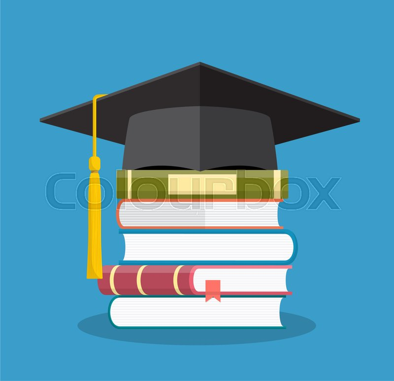 Graduation Cap On Books Stacked Mortar Board With Pile Of Books