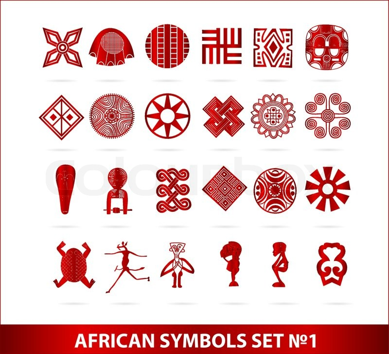 african symbols set red color isolated on the white