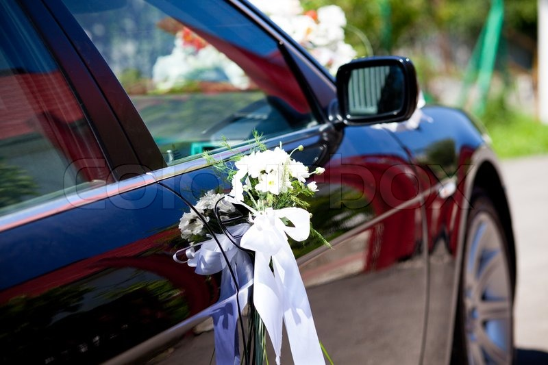 Wedding decoration closeup on the black car stock photo colourbox junglespirit Image collections