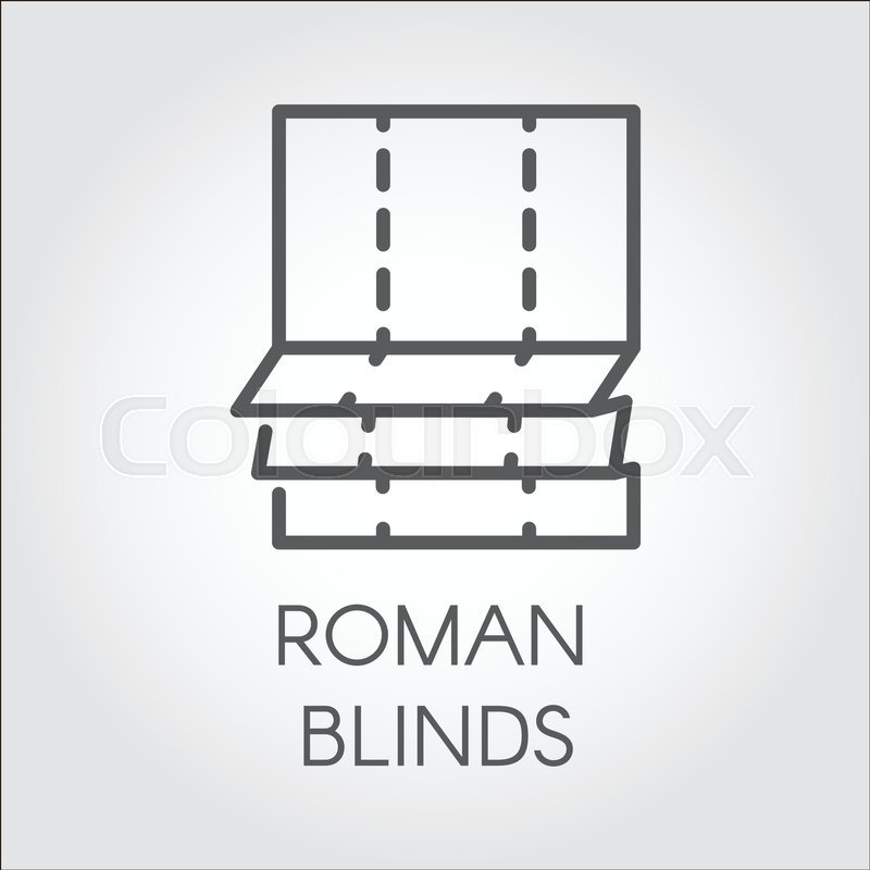 Simple logo in outline style of roman blinds. Emblem for room or ...