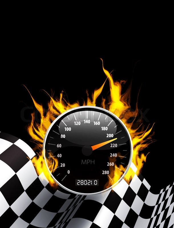 Racing Background With Burning Speedometer And Checkered