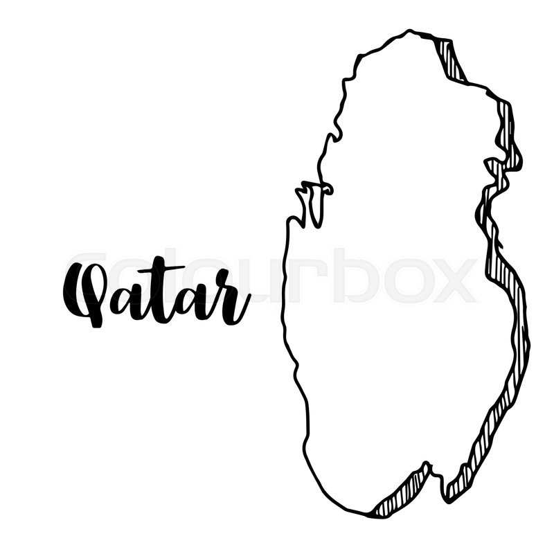 Hand drawn of Qatar map, vector ... | Stock vector | Colourbox