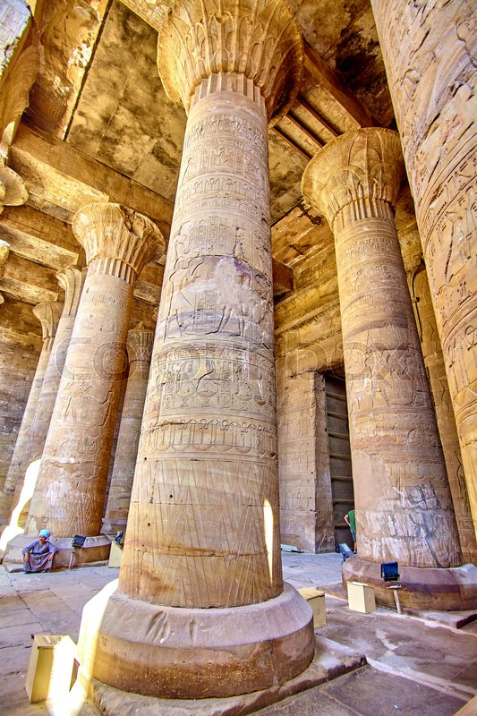 Ancient egyptian architecture ruins olumns of the Temple of Horus