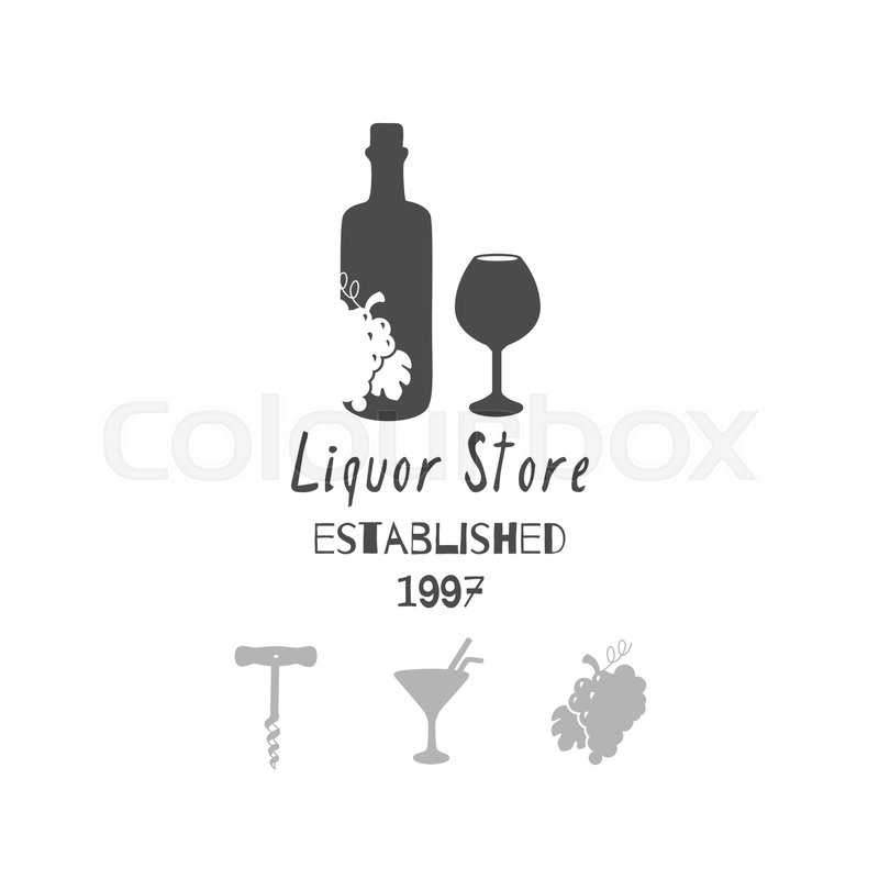 Set Of Hand Drawn Silhouettes Wine Bottle And Glass Grape Bunch