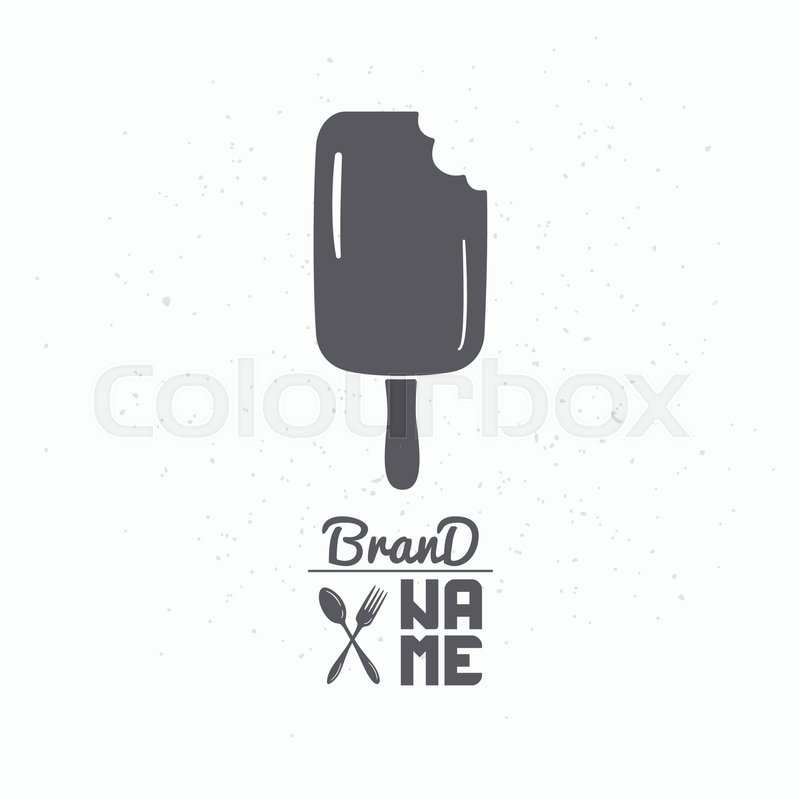 Hand drawn silhouette of bitten popsicle. Ice cream logo template ...