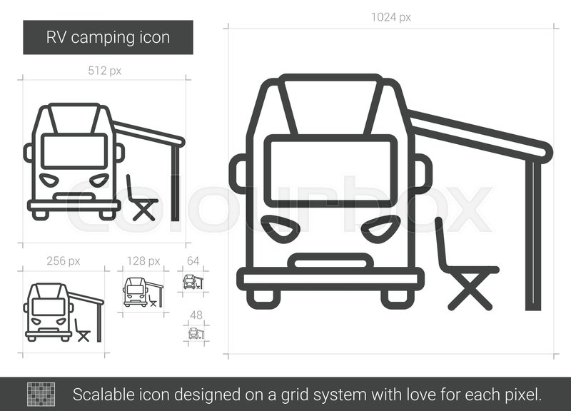 RV Camping Vector Line Icon Isolated On White Background For Infographic Website Or App Scalable Designed A Grid System