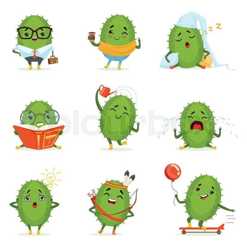 Cute cactus cartoon characters set,     | Stock vector | Colourbox