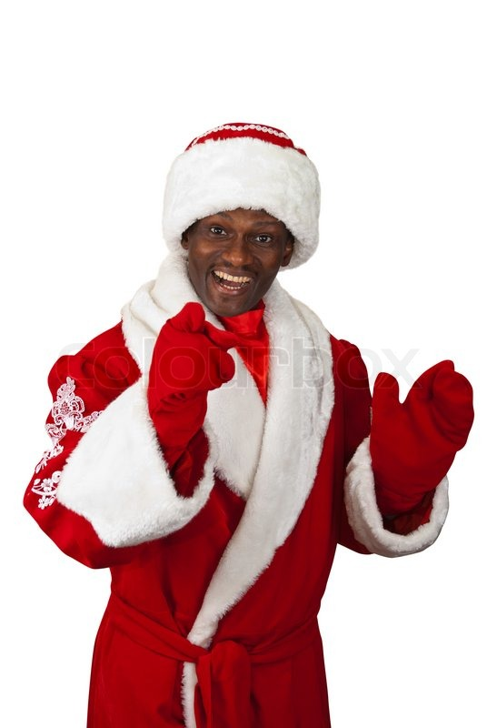Surprised black santa claus on a white background stock