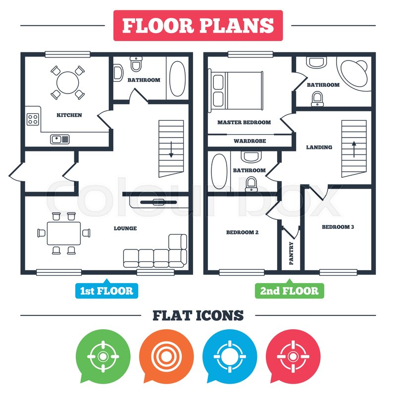 Architecture Plan With Furniture House Floor Plan Crosshair Icons