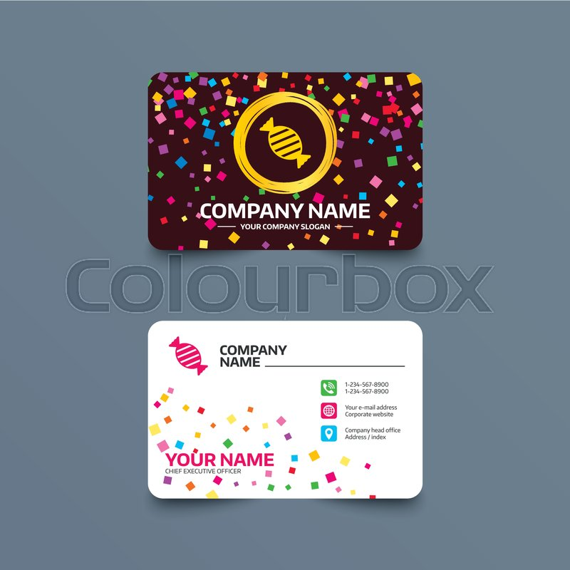 Business card template with confetti pieces. Candy icon. Sweet food ...