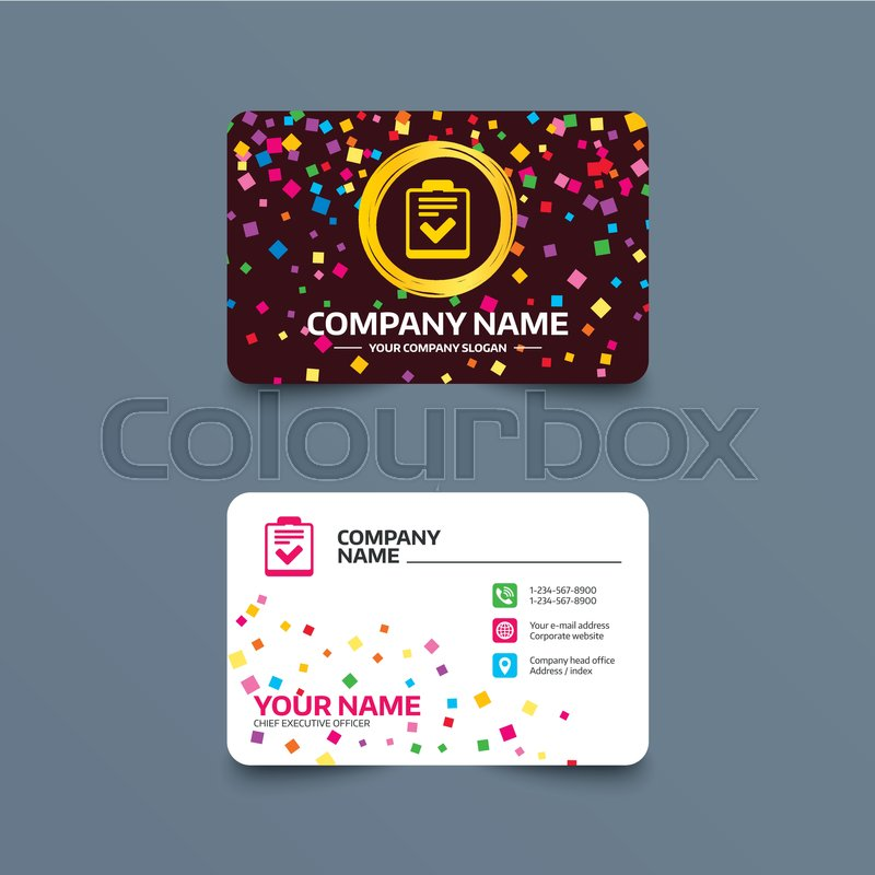 Business card template with confetti pieces. Checklist sign icon ...
