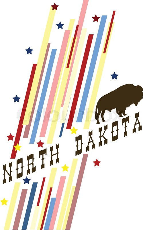 Creative Banner With The Symbol Of The State Of North Dakota