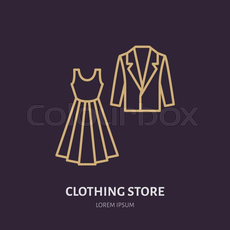 Wedding Dress, Men Suit Icon, Clothing Shop Line Logo
