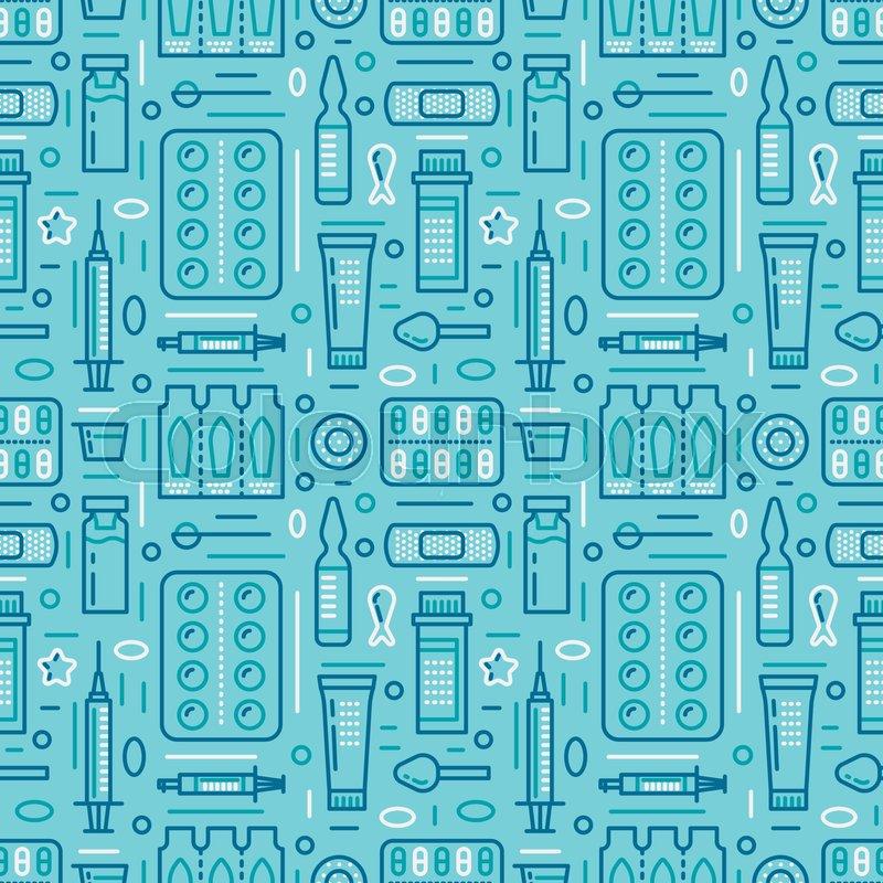 Medical, Drugstore Seamless Pattern, ...
