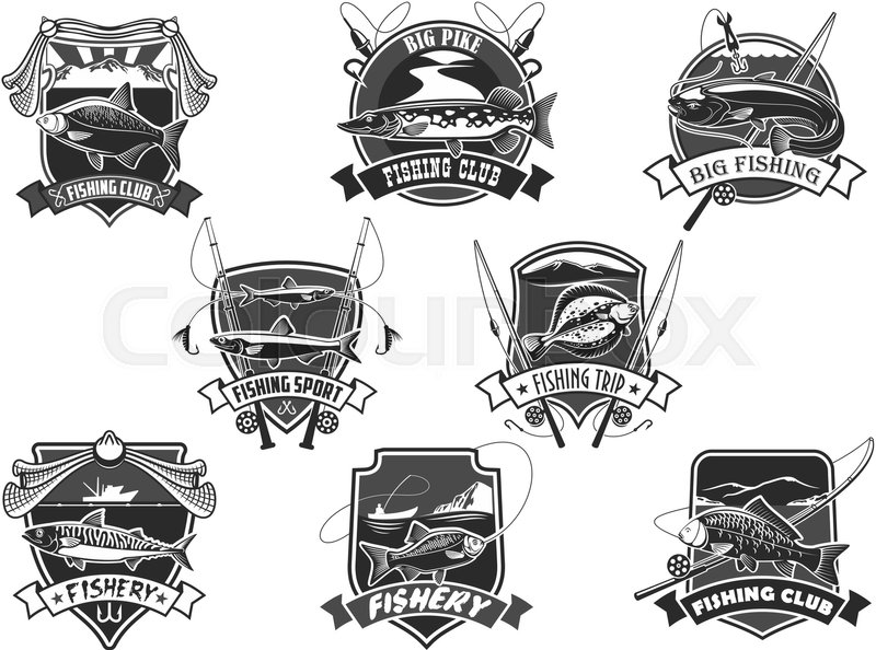 Fishing Club Icons Set For Fisher Sport Or Trip Vector Isolated