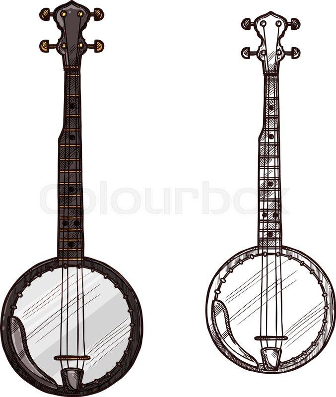 Banjo Guitar String Musical Instrument Vector Sketch Symbol Of Folk