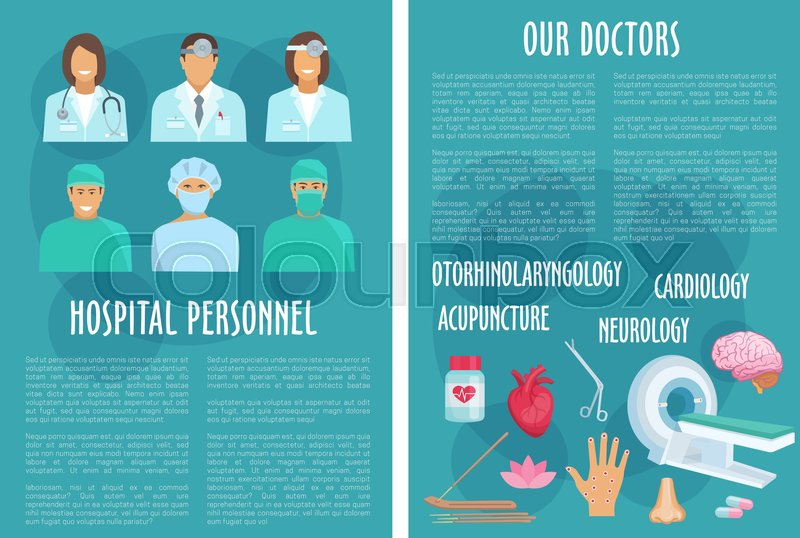 Hospital Doctors And Medical Healthcare Departments Brochure Of
