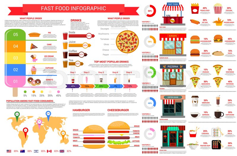 fast food vector infographics template and elements on
