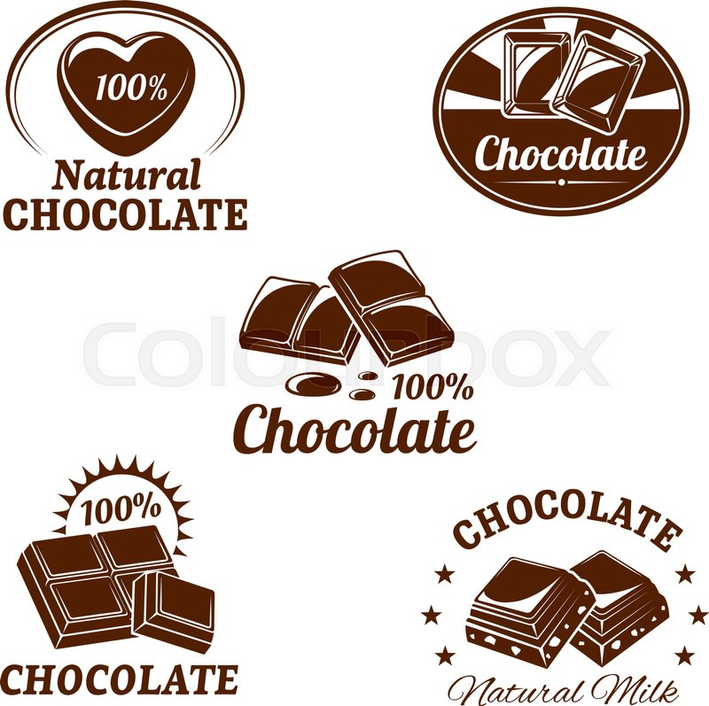Chocolate desserts icons set of fondant and choco hearts for ...
